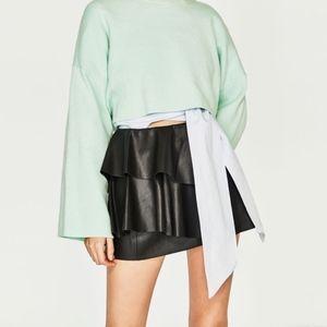 Zara Black Leather Effect Tiered Ruffle Mini Skirt